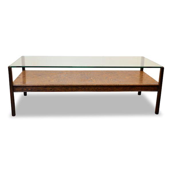 Vintage wenge/glazen salontafel