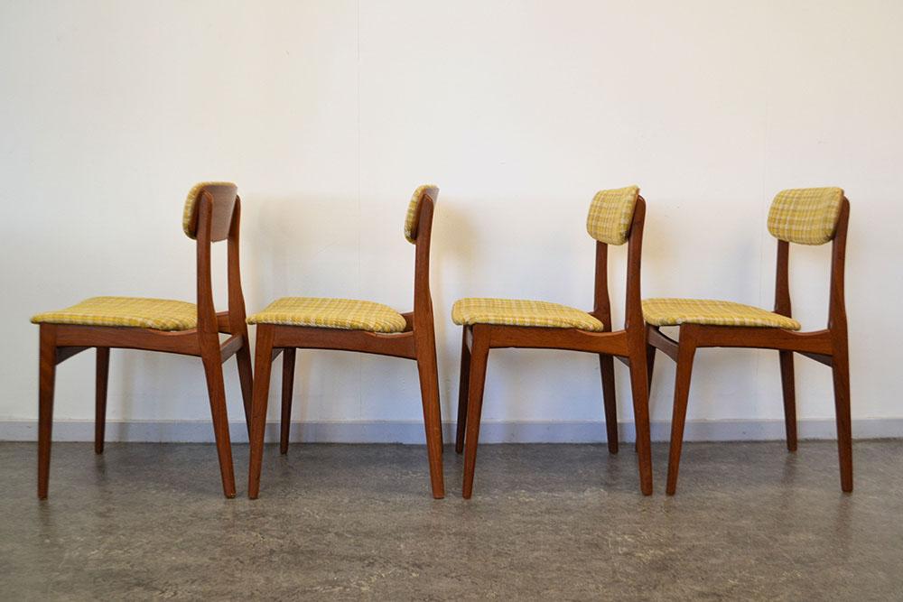 Deense teak/plywood eetkamerstoelen