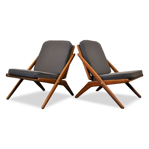 Danish Modern Arne Hovmand Olsen Scissor Chairs