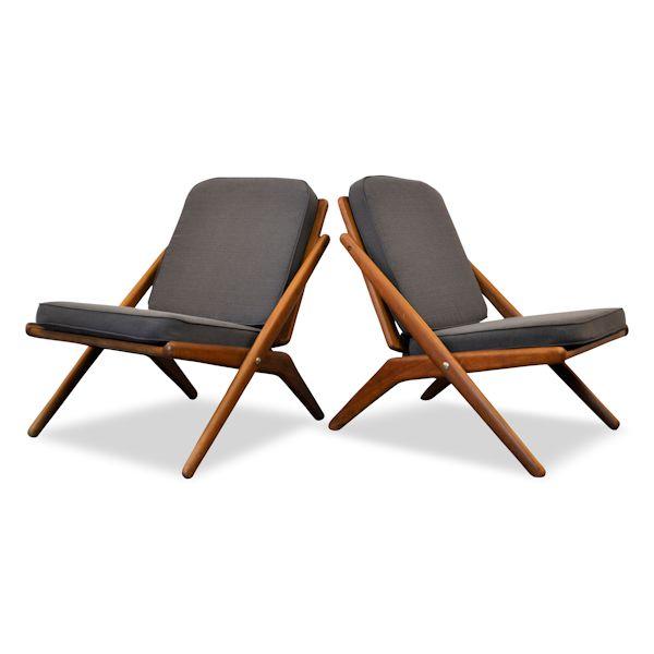 "Arne Hovmand Olsen ""Scissors"" teak fauteuils"