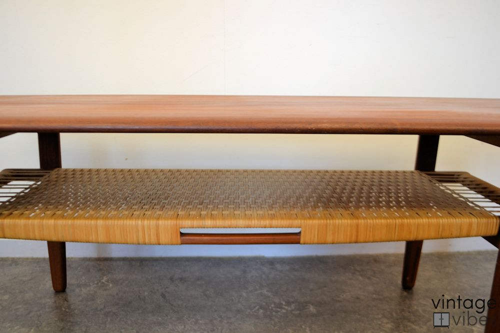 Danish Modern Kurt Østervig Coffee Table - detail ratan