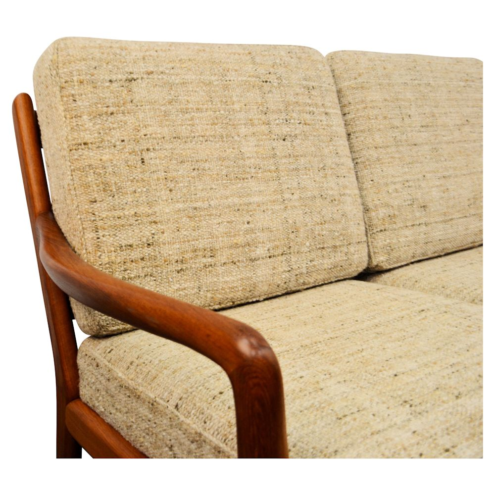 Danish Modern L. Olsen & Son Two-Seater Sofa - detail armrest and upholstery
