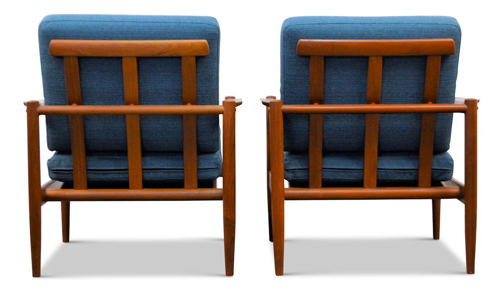 Vintage Danish Modern lounge chairs by Børge Jensen & Sønner - back