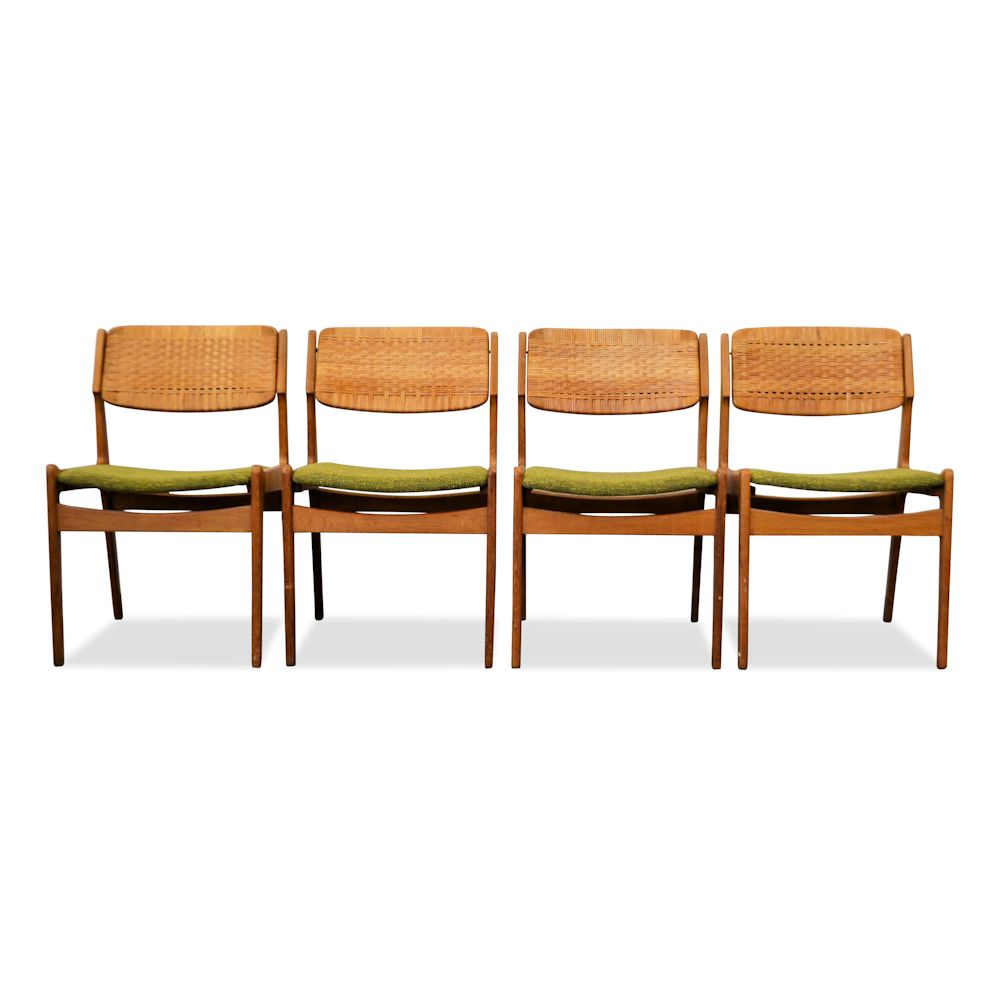 Erik Buch Oak and Ratan Dining Chairs - front