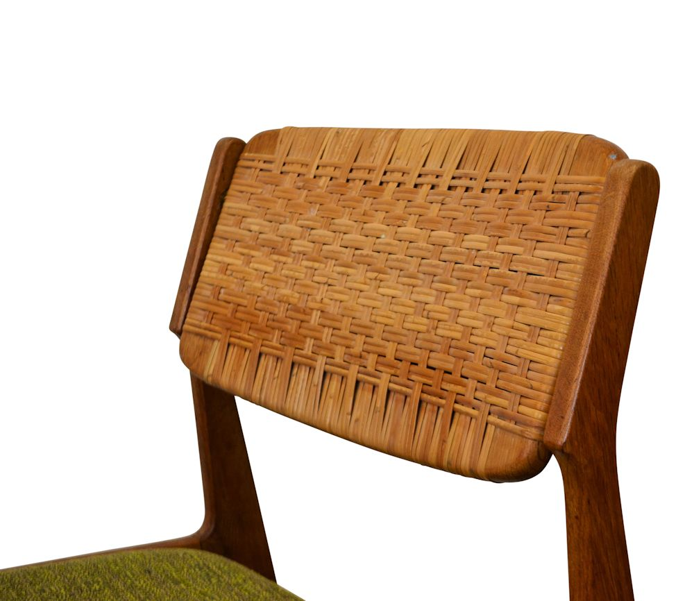 Erik Buch Oak and Ratan Dining Chairs - detail backrest