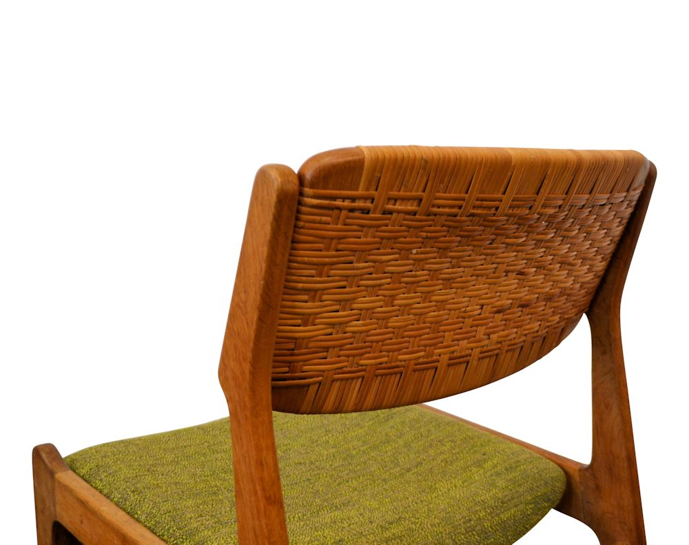 Erik Buch Oak and Ratan Dining Chairs - back