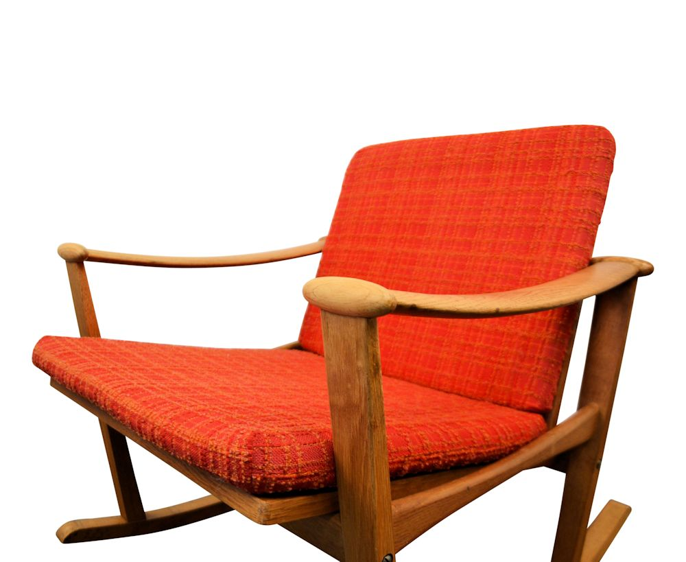 Finn Juhl Oak Rocking Chair - side