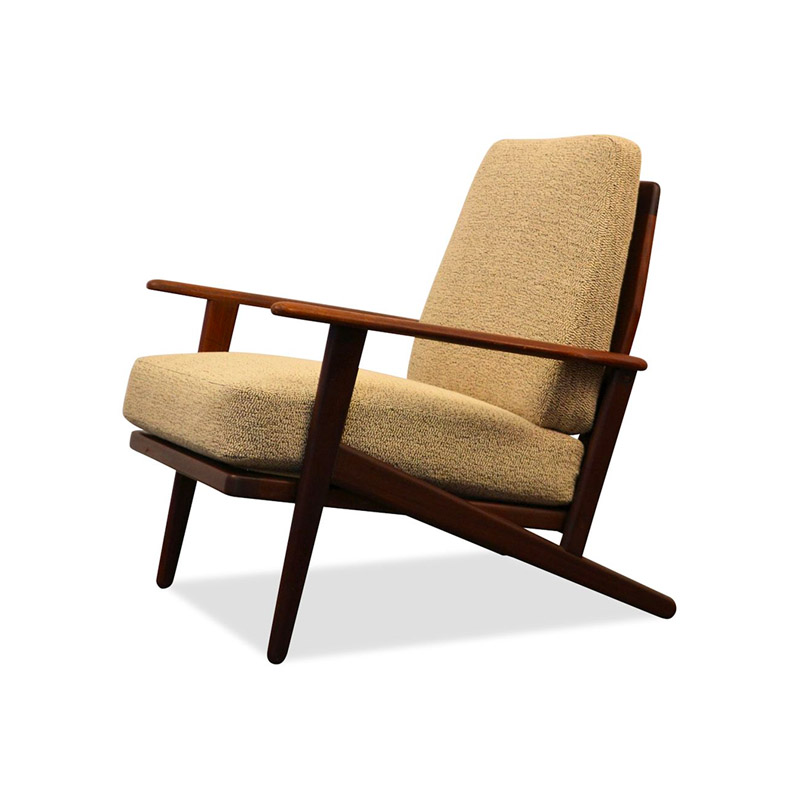 Vintage Danish Modern teak Y-shape lounge chair