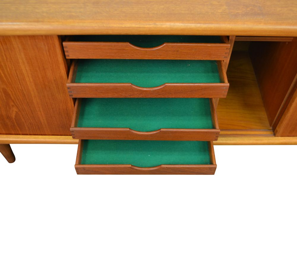 Vintage Danish Modern Teak Sideboard by H.P. Hansen - drawers open