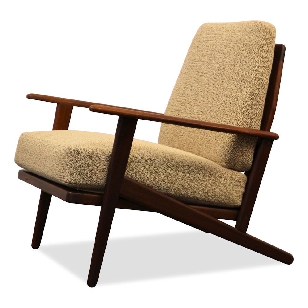 Danish Modern teak Y-shape lounge chair - side