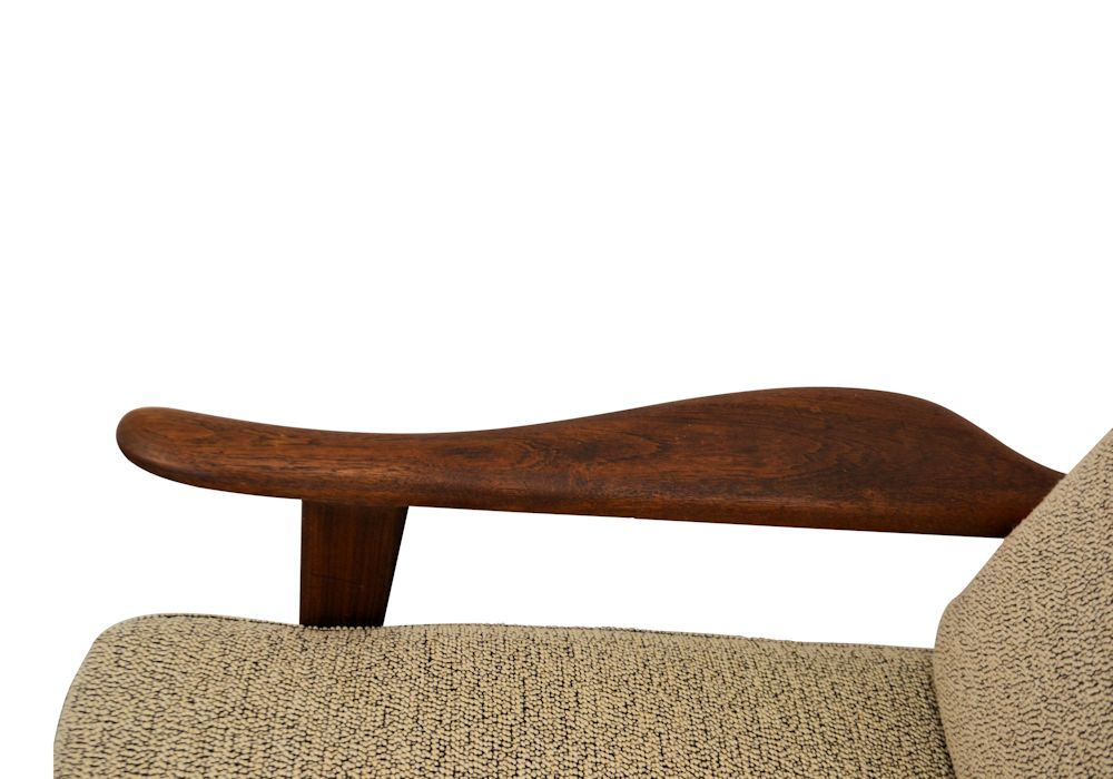 Vintage Danish Modern teak Y-shape lounge chair - detail armrest