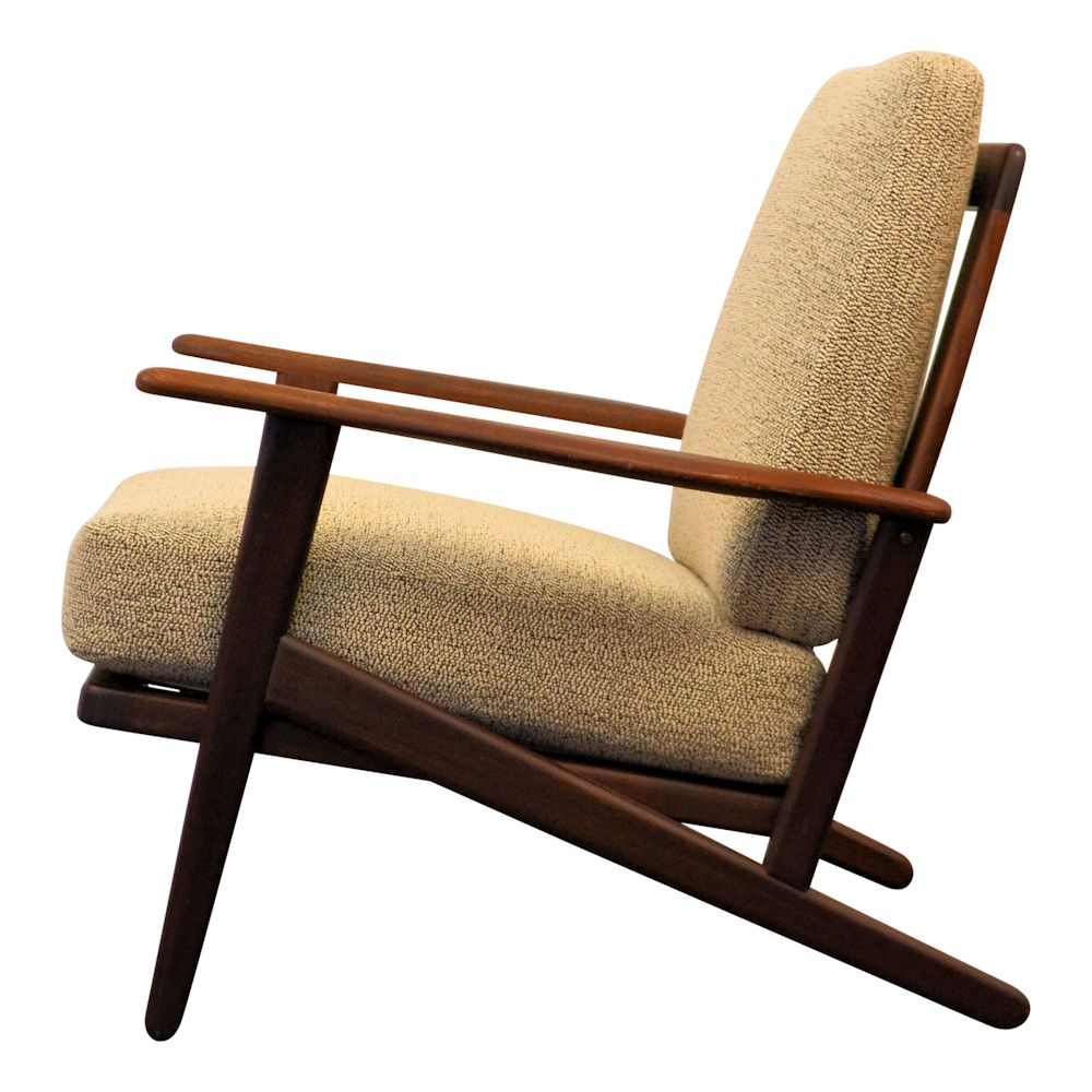 Vintage Danish Modern teak Y-shape lounge chair - side