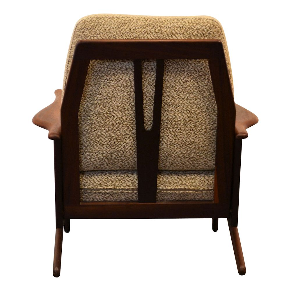 Vintage Danish Modern teak Y-shape lounge chair - back