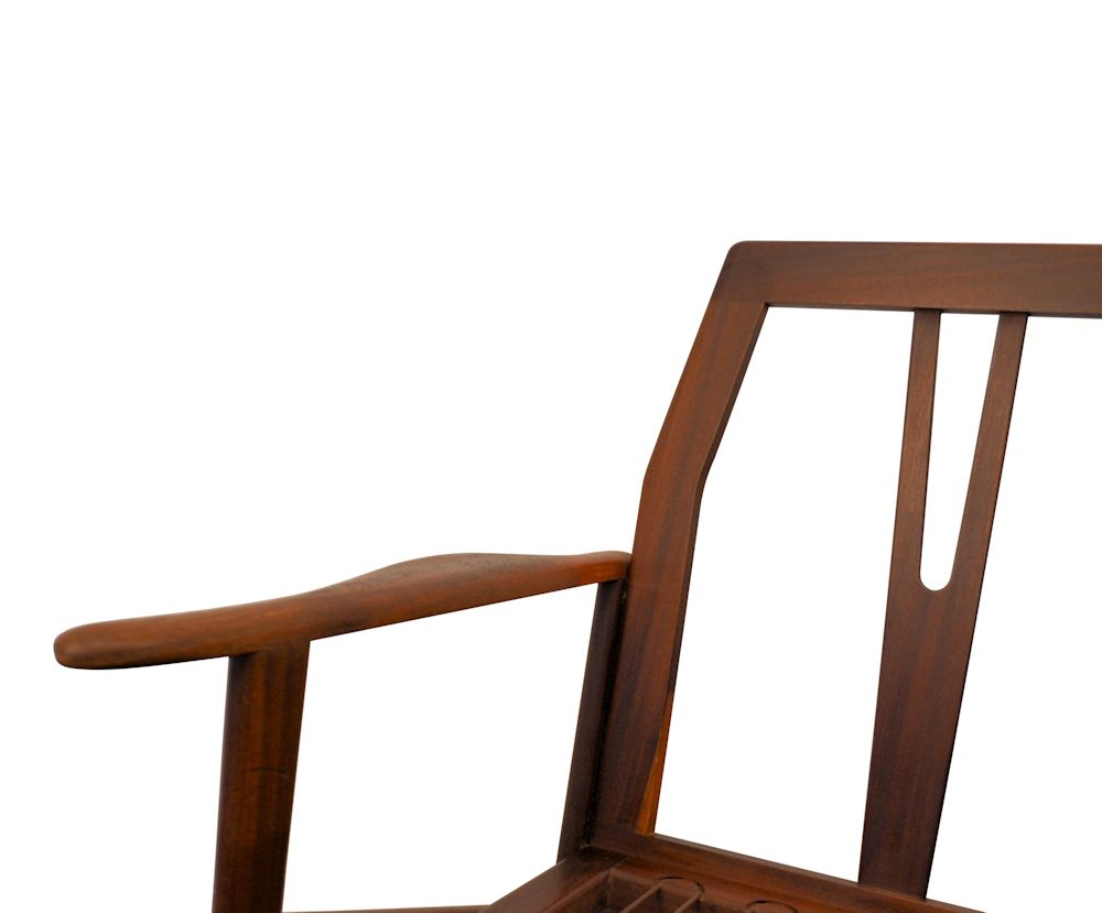 Vintage Danish Modern teak Y-shape lounge chair - frame detail