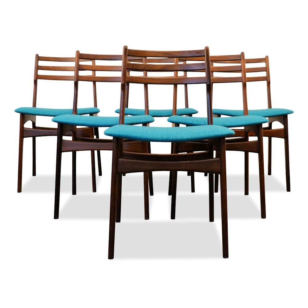 Danish Modern Teak Dining Chairs by R. Borrøgaard - front