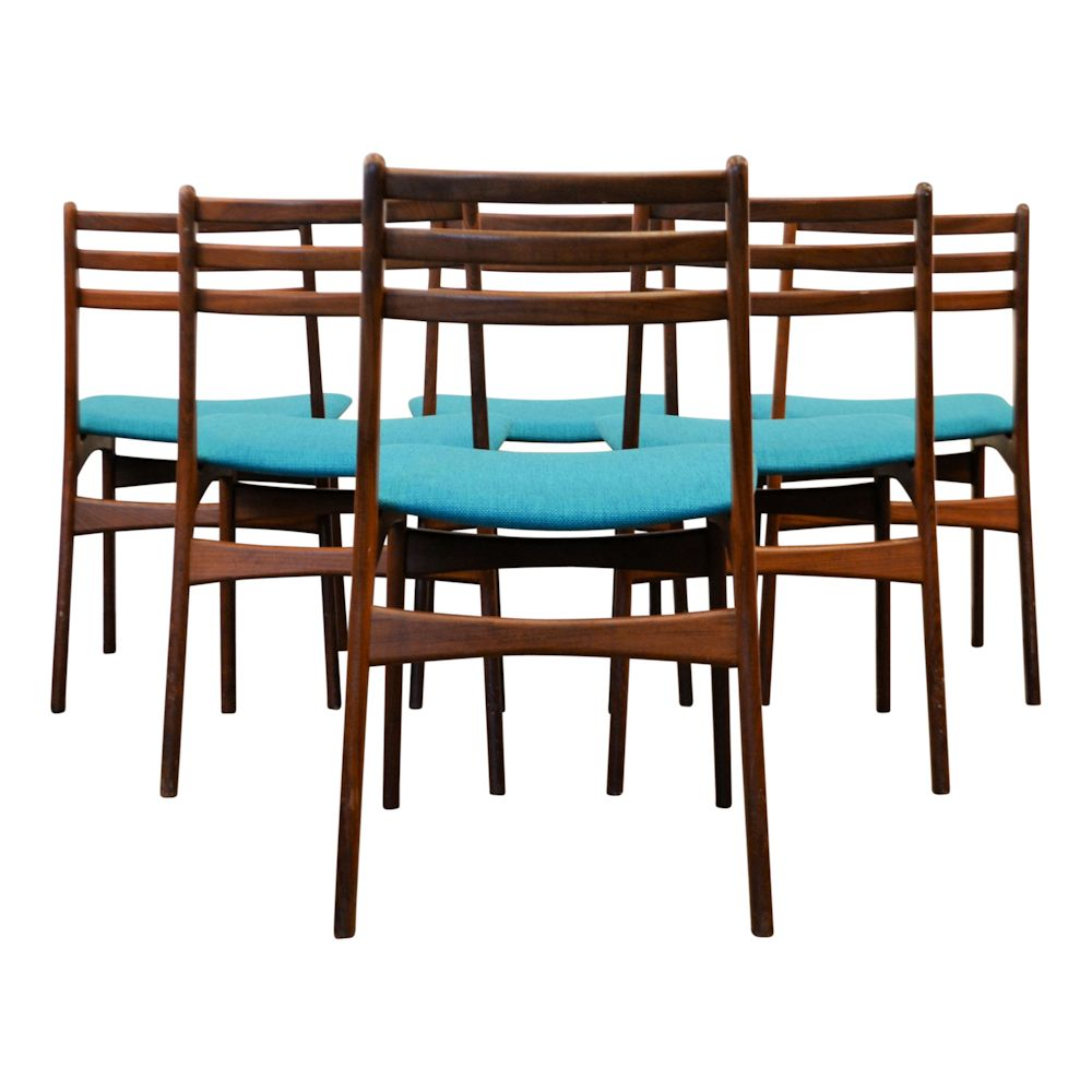 Danish Modern Teak Dining Chairs by R. Borrøgaard - back