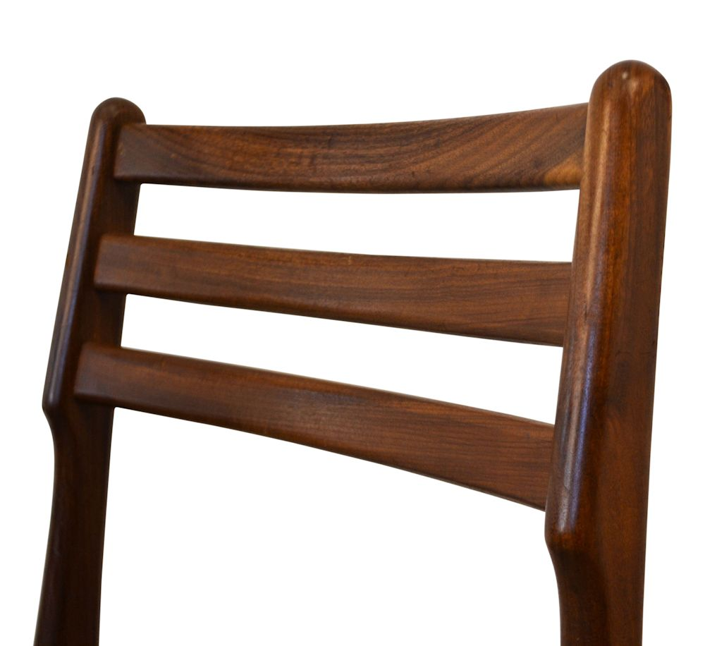 Danish Modern Teak Dining Chairs by R. Borrøgaard - detail backrest