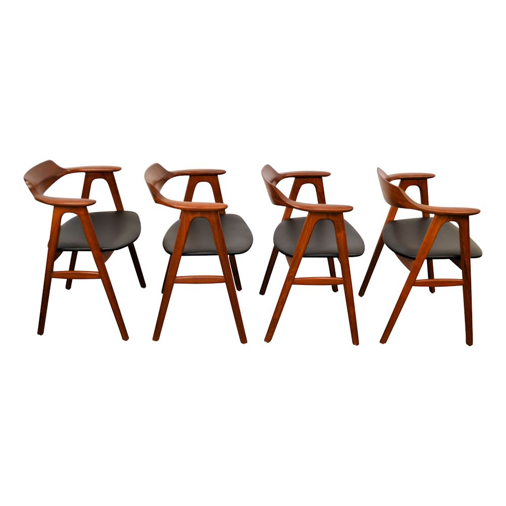 Vintage Danish Modern Erik Kirkegaard Dining Chairs - side