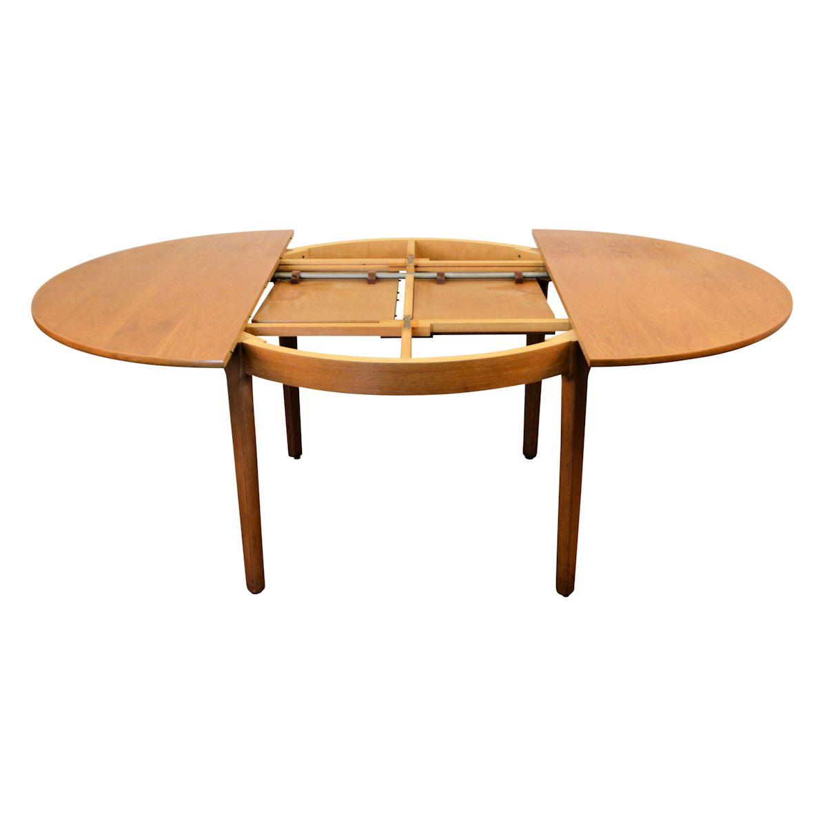 Ronde Verlengbare Eettafel.Vintage Deens Design Verlengbare Eiken Eettafel