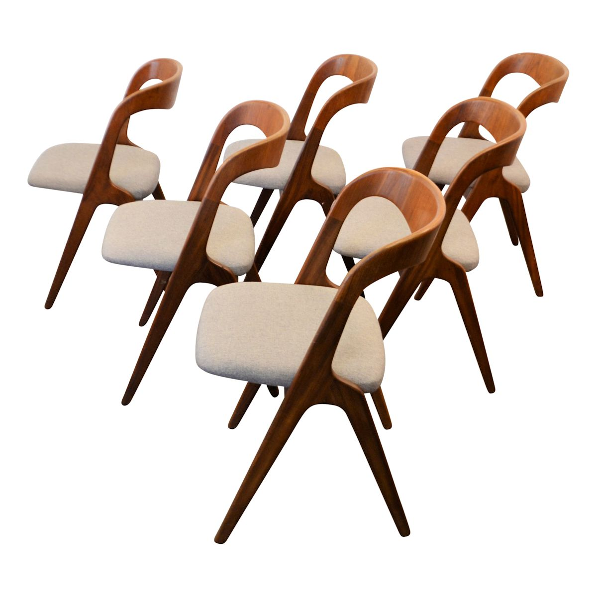 Danish Modern Erik Wørts Dining Chairs - side and top