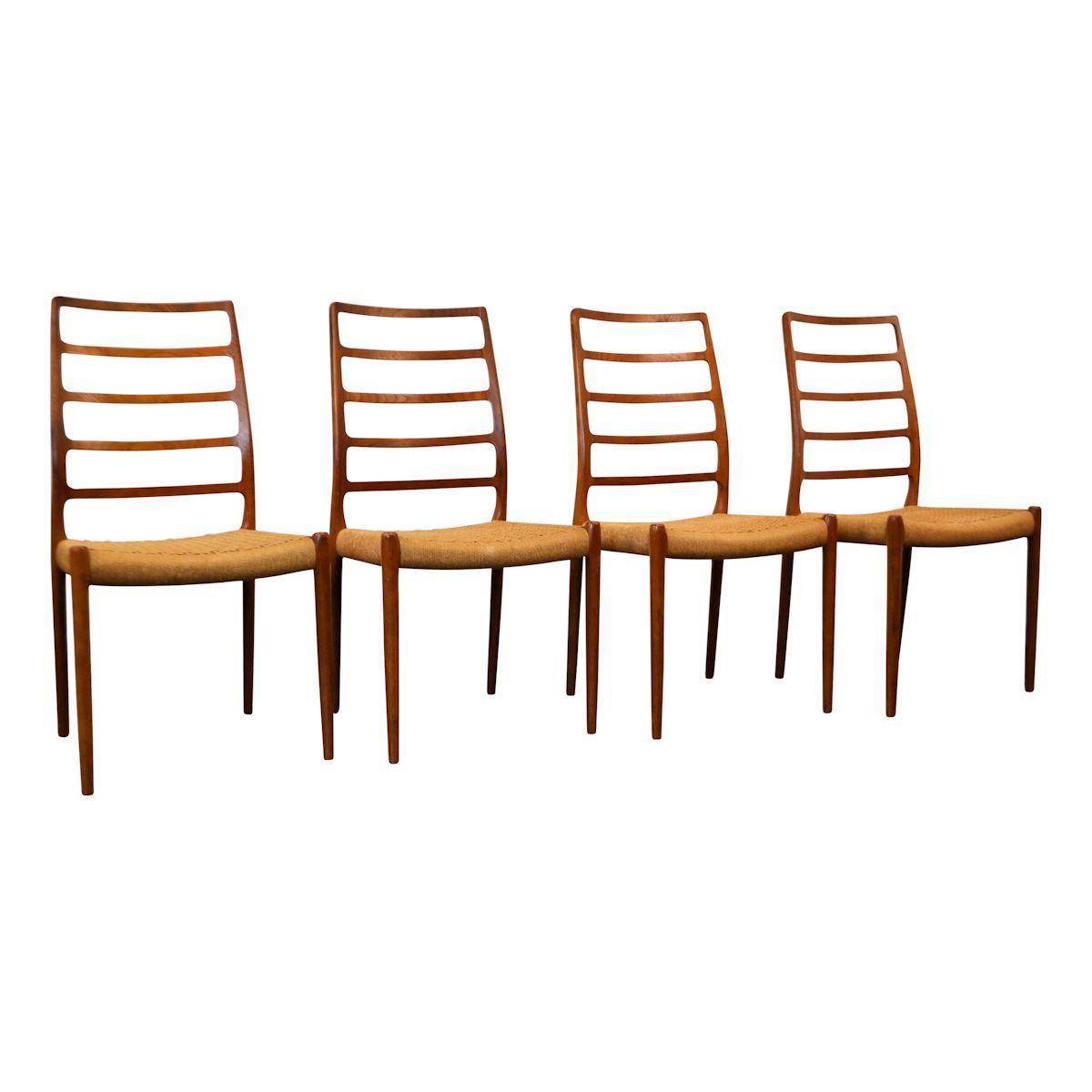 Vintage Niels O. Møller, model 82 teak stoelen