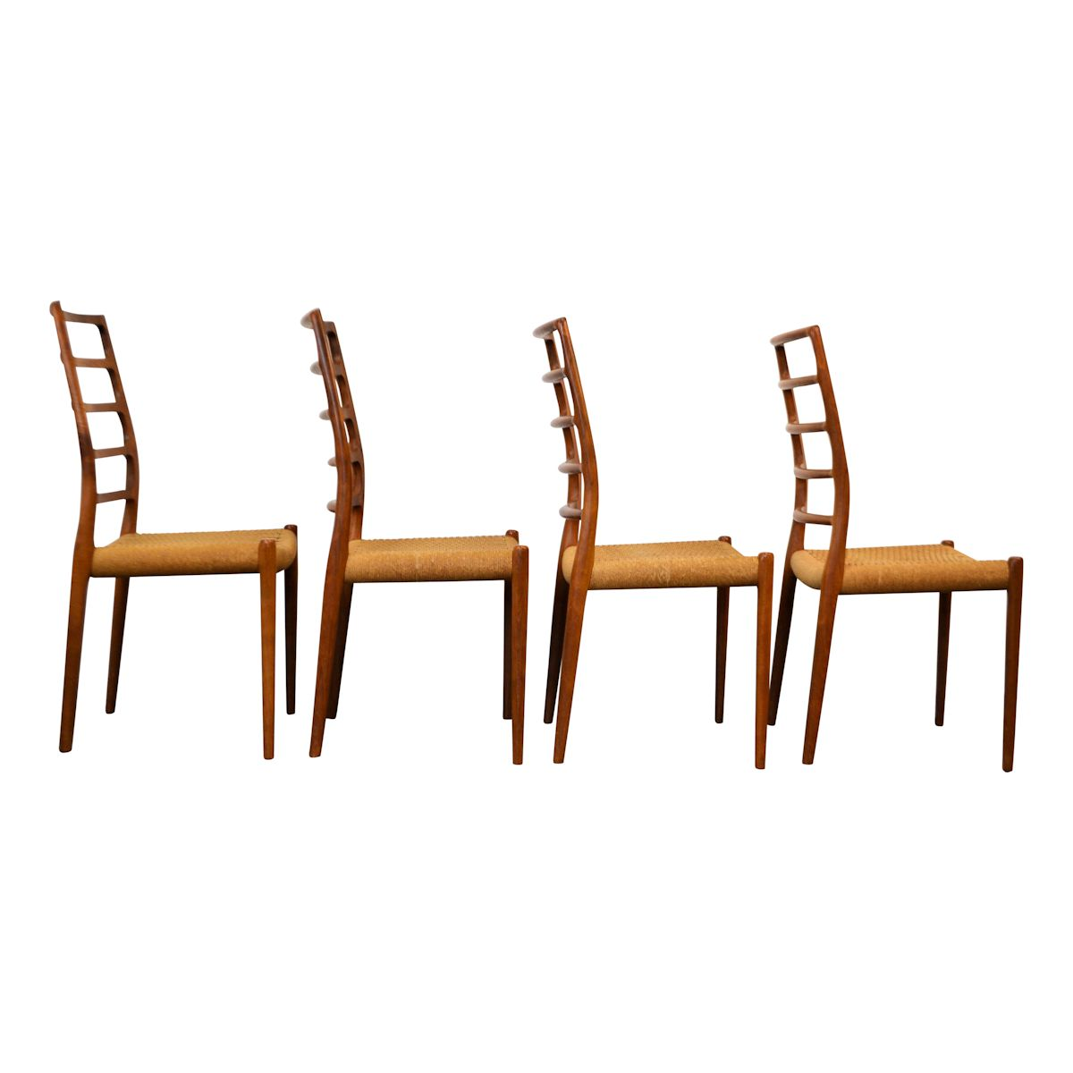 Vintage Niels O. Møller Model 82 Dining Chairs - side