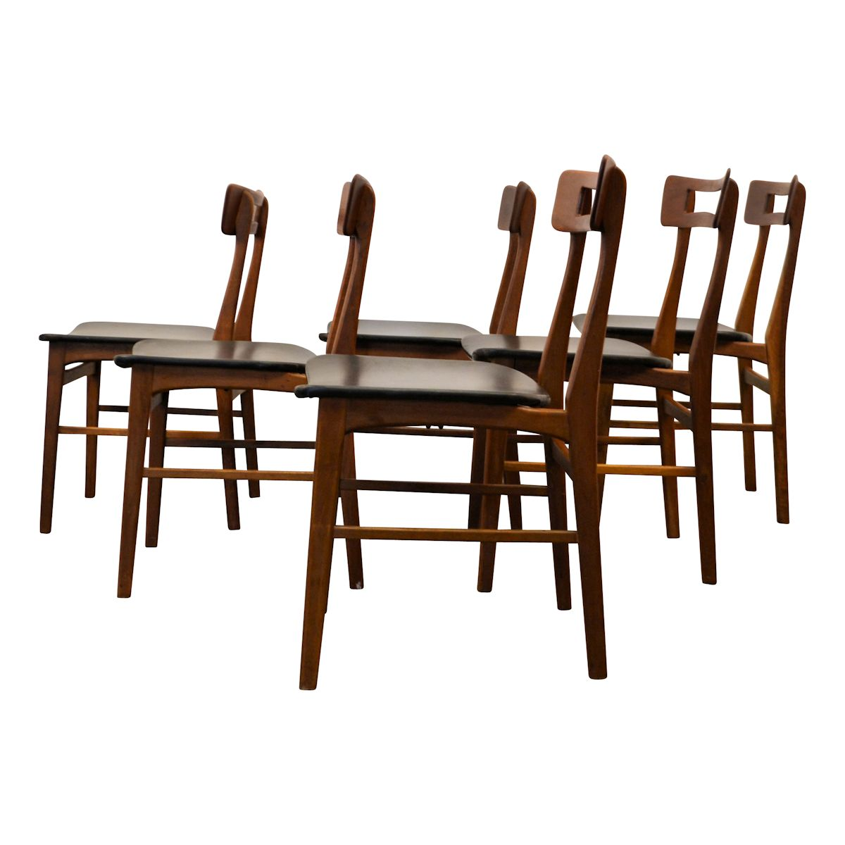 Vintage Teak Danish Modern Dining Chairs - side