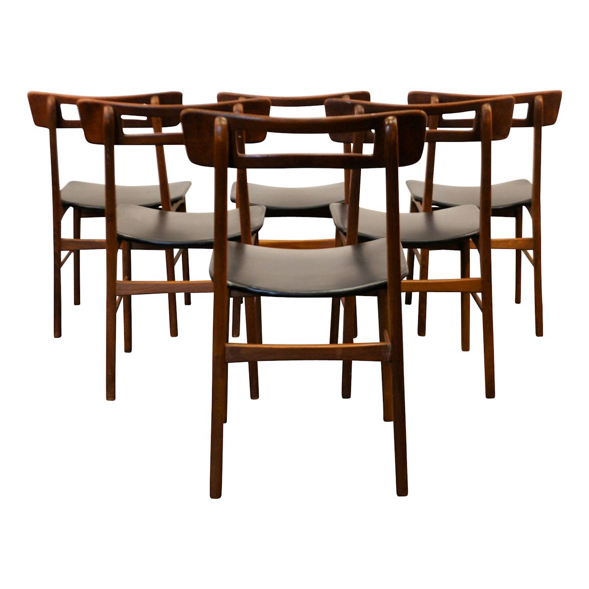 Vintage Teak Danish Modern Dining Chairs - back