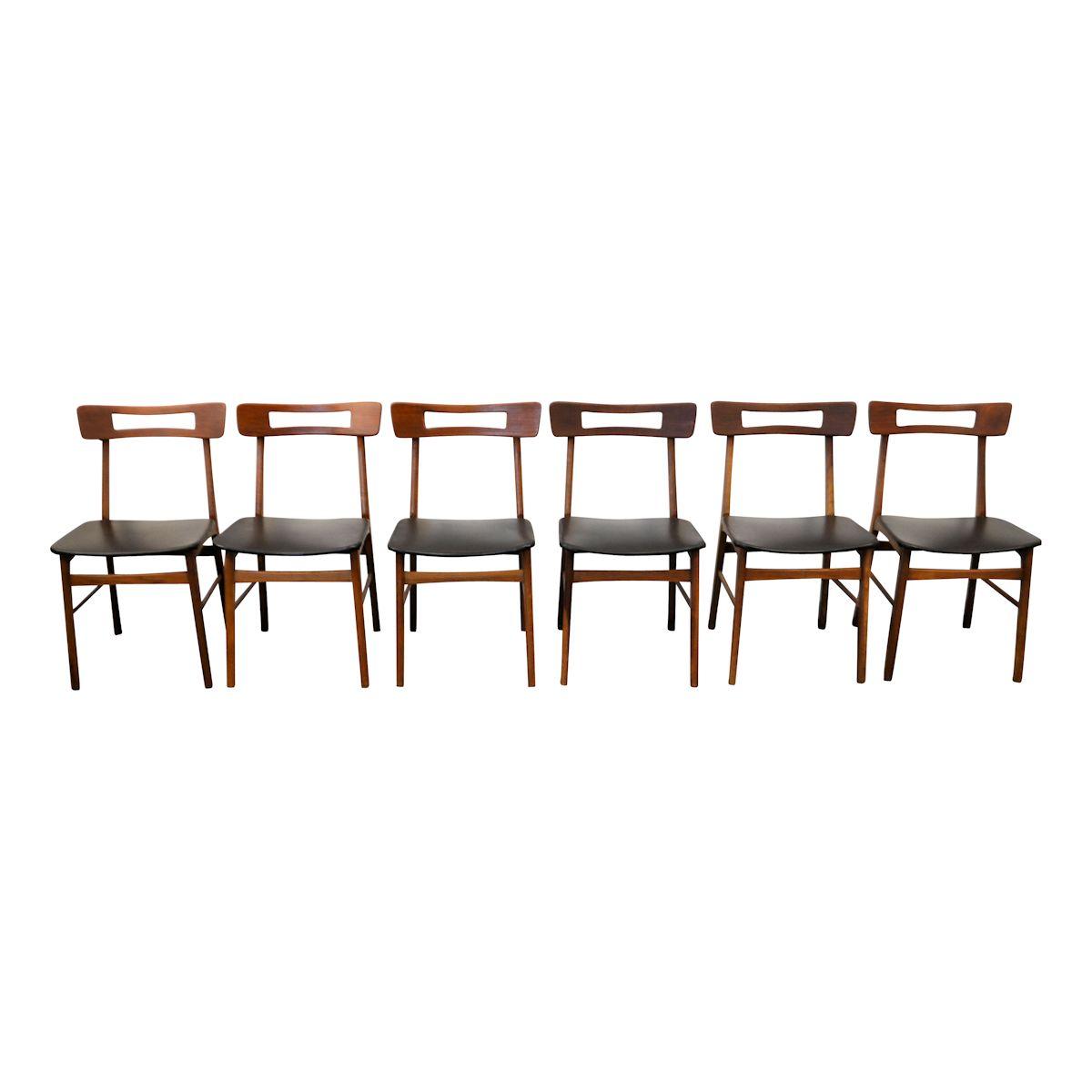 Vintage Teak Danish Modern Dining Chairs - front