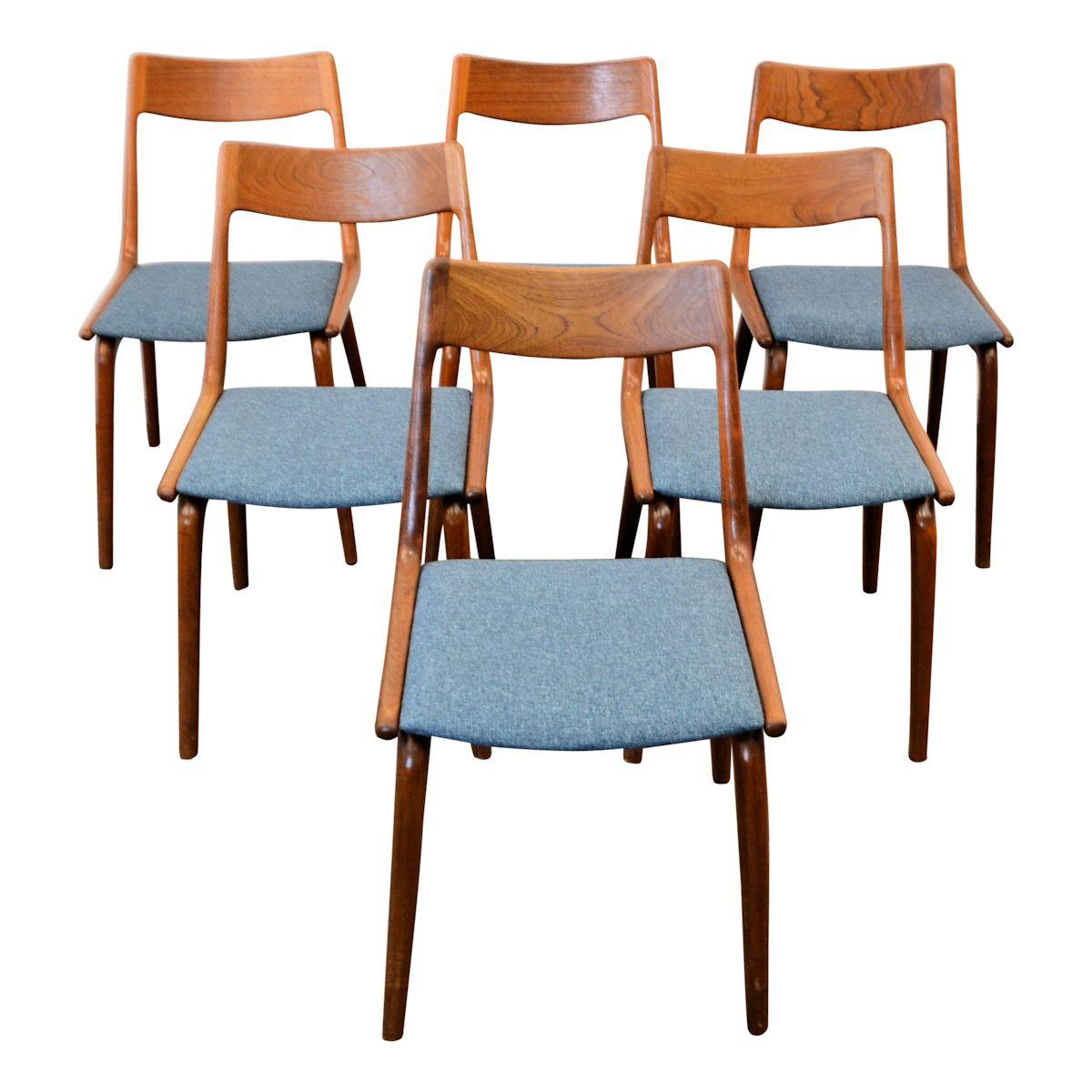 """Vintage Alfred Christensen teak """"Boomerang"""" stoelen (6)"""