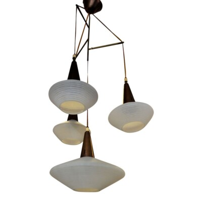 Vintage ufo glazen hanglamp