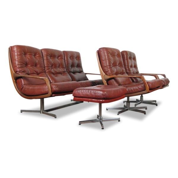 Vintage bankstel en fauteuils n Deense stijl leer/teak