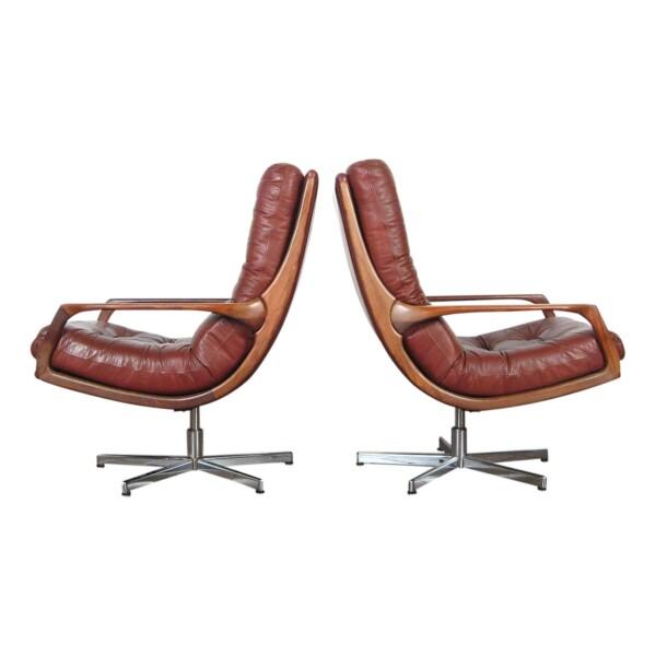 Vintage fauteuils in Deense stijl leer/teak - zijkant