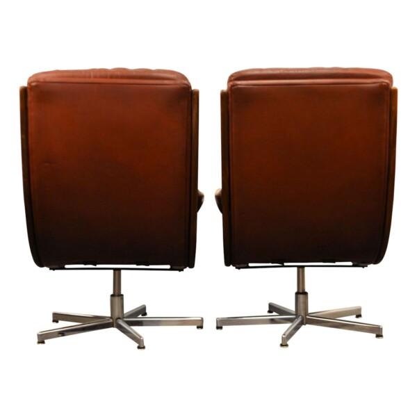 Vintage fauteuils in Deense stijl leer/teak - achterzijde