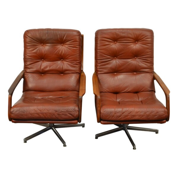 Vintage fauteuils in Deense stijl leer/teak