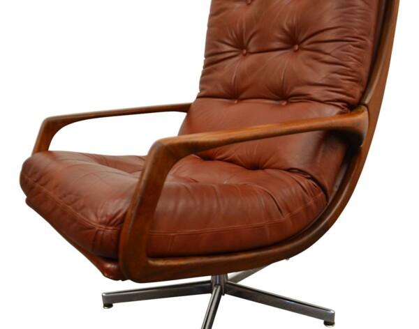 Vintage fauteuils in Deense stijl leer/teak - detail