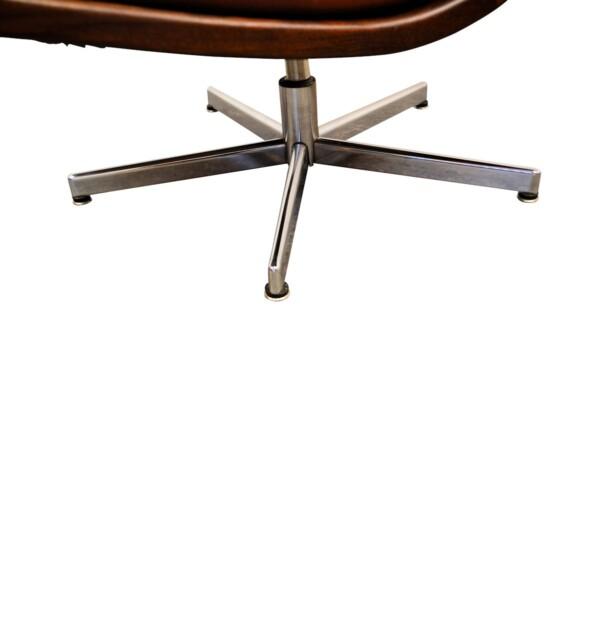 Vintage fauteuils in Deense stijl leer/teak - detail chrome