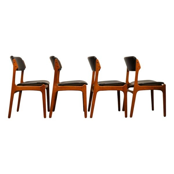 Vintage Teak Dining Chairs by Erik Buck - side