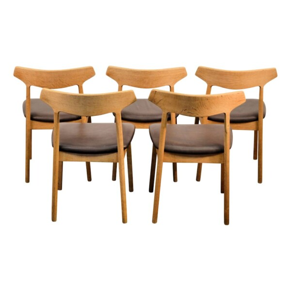 Vintage Oak Dining Chairs by Henning Kjaernulf  - back