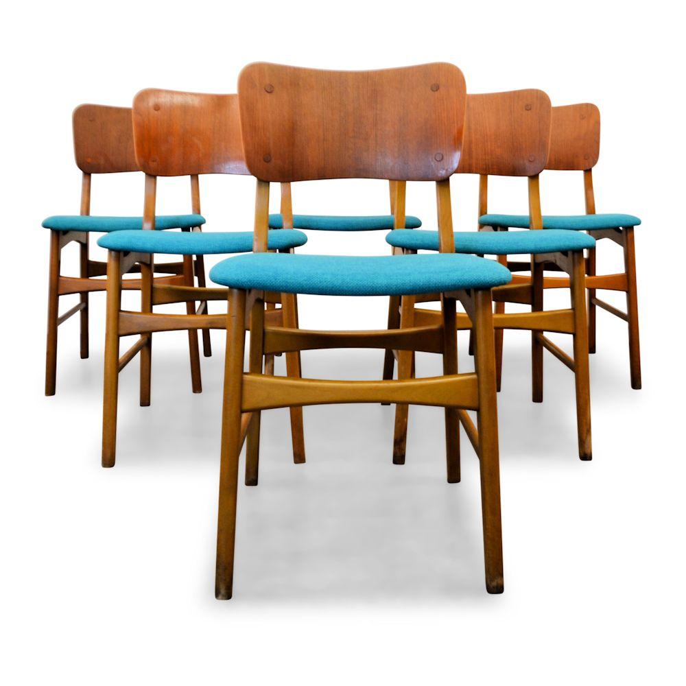 Vintage deense teak boltinge eetkamerstoelen 6 vintage for Vintage stoelen