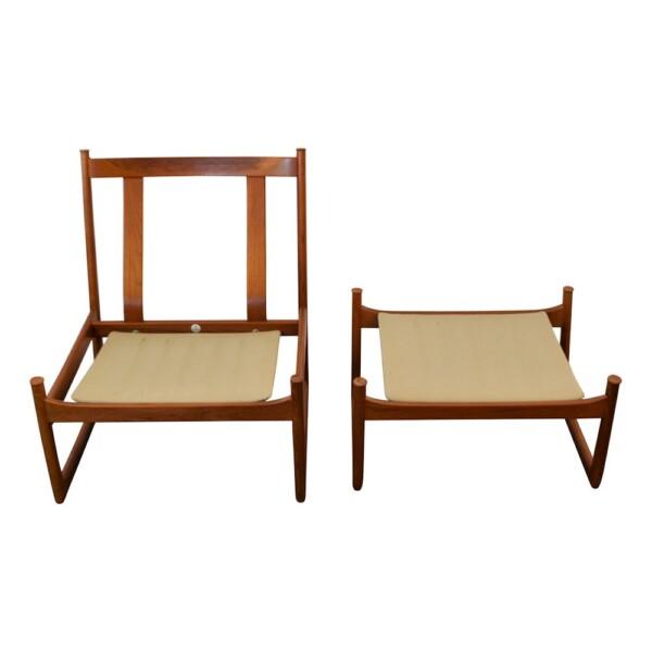 Hvidt & Mølgaard teak FD-130 fauteuil + hocker (detail)