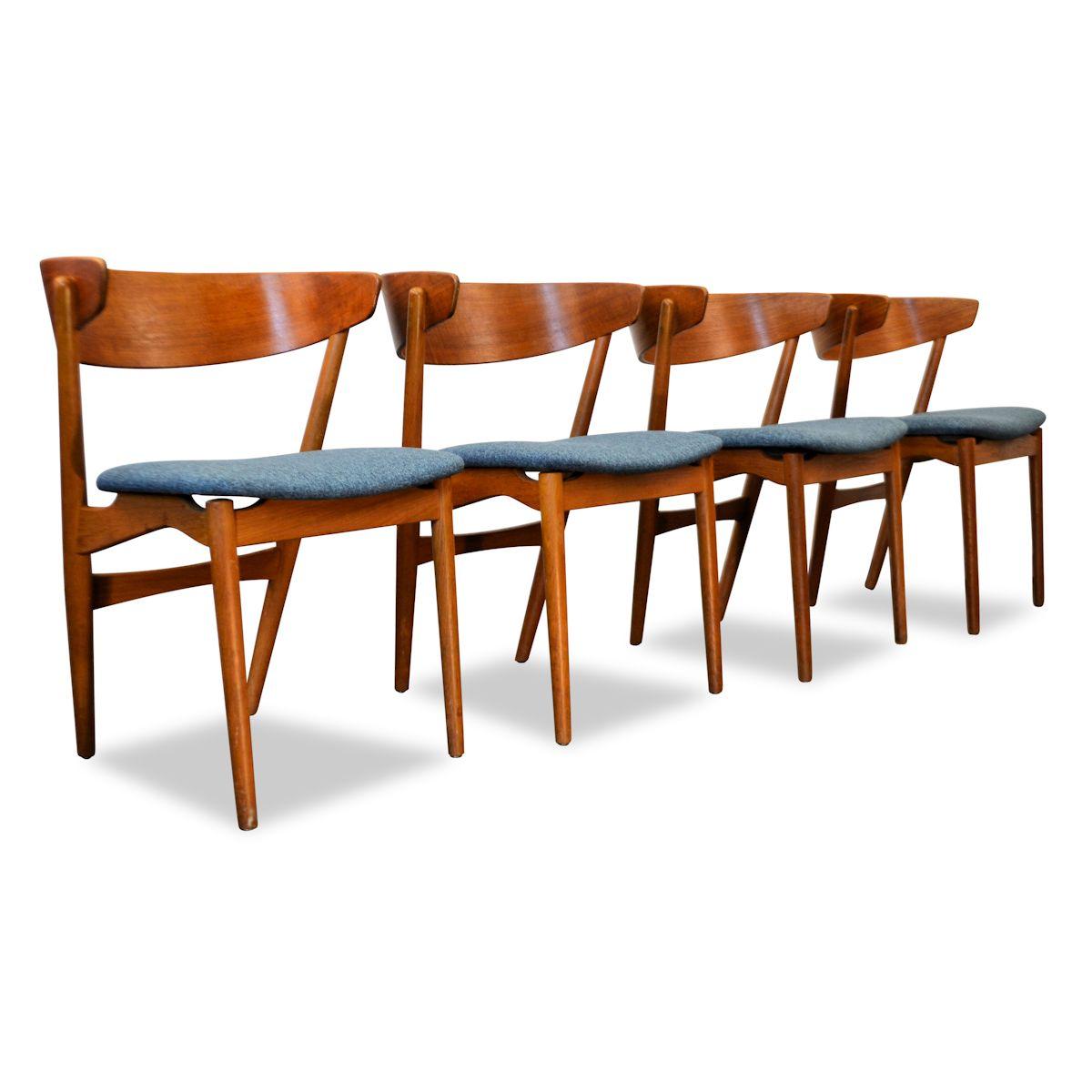 Vintage Teak Helge Sibast Model no. 7 Dining Chairs