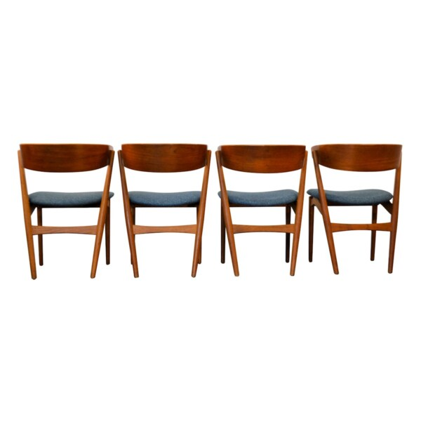 Vintage Teak Helge Sibast Model no. 7 Dining Chairs - back