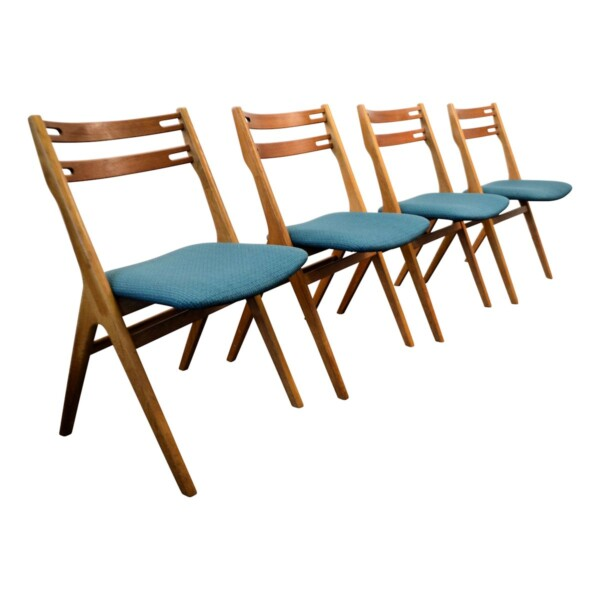 Vintage Teak/Oak Dining Chairs by Edmund Jørgensen - side