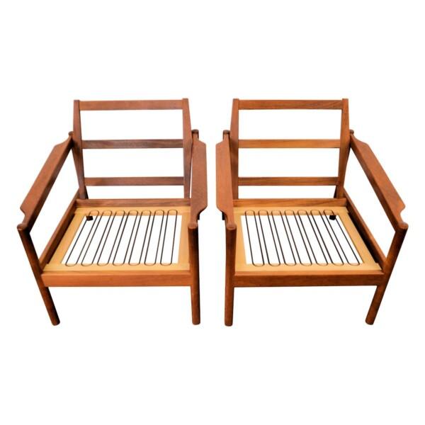 Vintage Kai Kristiansen teak fauteuils, set van 2 (detail)