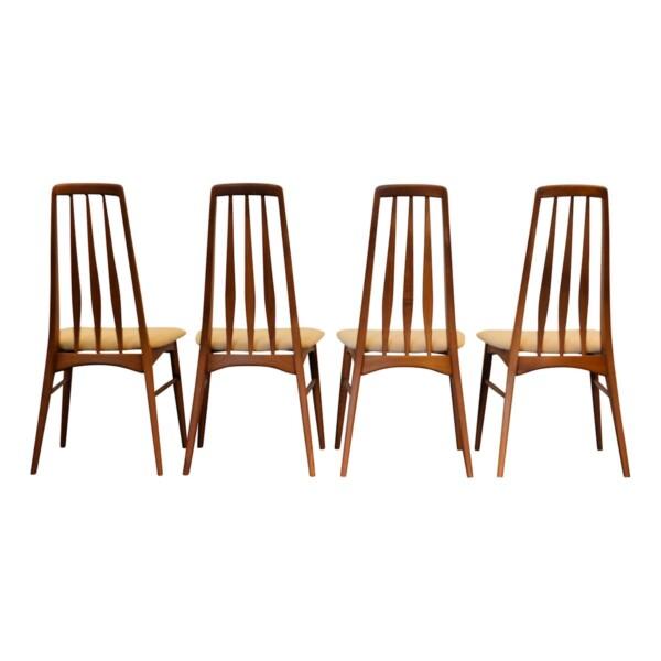 """Vintage Niels Koefoed """"Eva"""" teak dining chairs -back"""