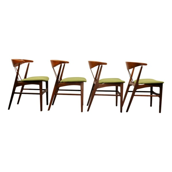 Vintage Danish Teak/Oak Dining Chairs - side