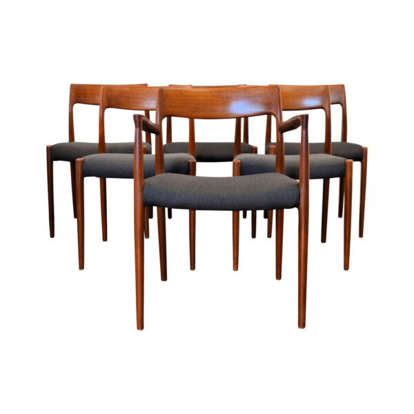 Vintage Niels O. Møller model #77 and #57 Dining Chairs