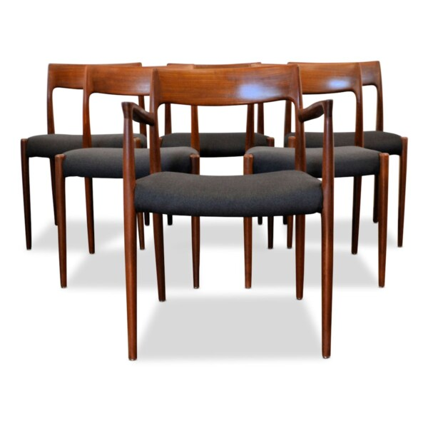Vintage Niels O. Møller teak stoelen, set van 6