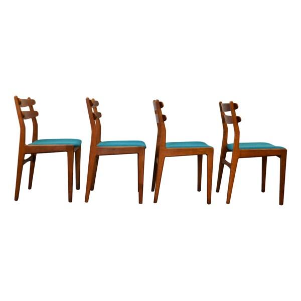 Vintage Deens design Slagelse teak/eiken stoelen (4)